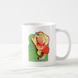 Retro Vintage Kitsch School Valentine Batter Up Classic White Coffee Mug