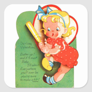 Retro Vintage Kitsch School Valentine Batter Up Square Sticker