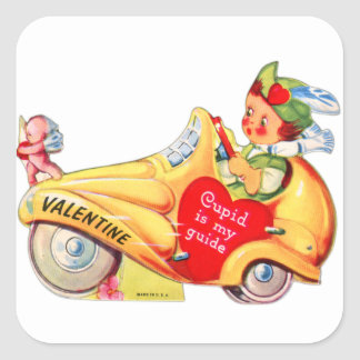Retro Vintage Kitsch School Valentine Cupid Square Sticker