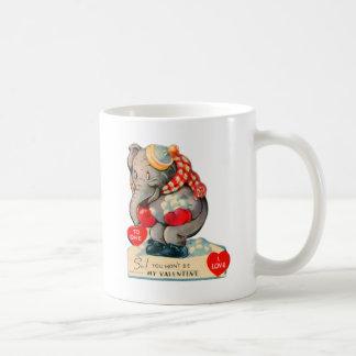 Retro Vintage Kitsch School Valentine Elephant Classic White Coffee Mug