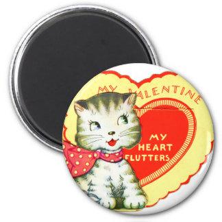 Retro Vintage Kitsch School Valentine Kitty Cat 2 Inch Round Magnet