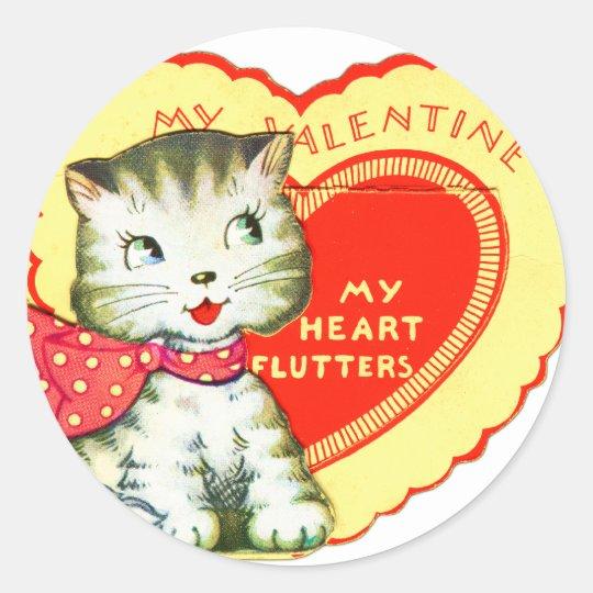 Retro Vintage Kitsch School Valentine Kitty Cat Classic Round Sticker