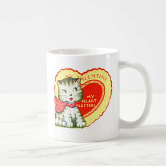 Retro Vintage Kitsch School Valentine Kitty Cat Coffee Mug