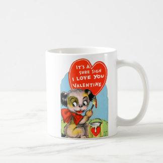 Retro Vintage Kitsch School Valentine Puppy Dog Classic White Coffee Mug