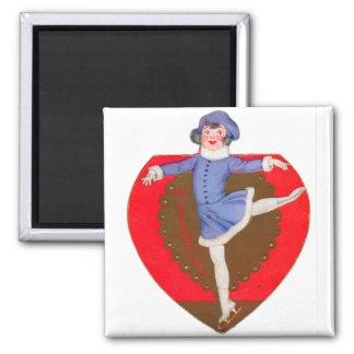 Retro Vintage Kitsch School Valentine Skater Girl Magnet