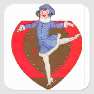 Retro Vintage Kitsch School Valentine Skater Girl Square Sticker