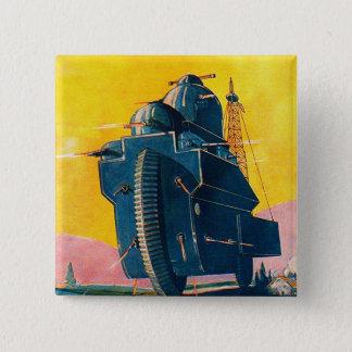Retro Vintage Kitsch Sci Fi 20s War Machine Button