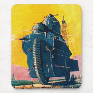 Retro Vintage Kitsch Sci Fi 20s War Machine Mouse Pad
