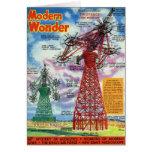 Retro Vintage Kitsch Sci Fi 30s Modern Wonder Card