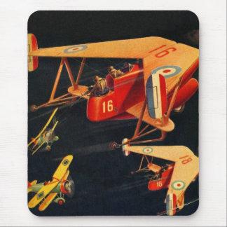 Retro Vintage Kitsch Sci Fi 30s Pulp Air Battle Mouse Pad