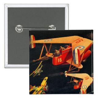Retro Vintage Kitsch Sci Fi 30s Pulp Air Battle Pinback Button