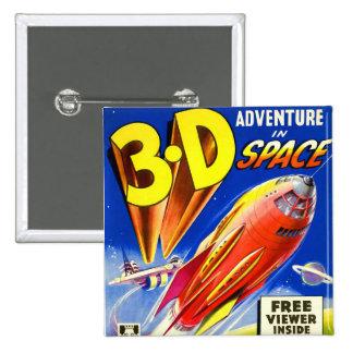 Retro Vintage Kitsch Sci Fi 3D Adventure in Space Button