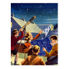 Retro Vintage Kitsch Sci Fi 40s Kids Telescope Postcard