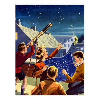 Retro Vintage Kitsch Sci Fi 40s Kids Telescope Postcards
