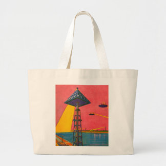 Retro Vintage Kitsch Sci Fi Canals of Mars Large Tote Bag