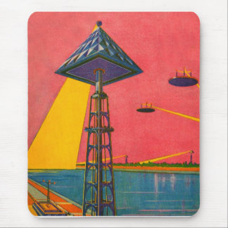 Retro Vintage Kitsch Sci Fi Canals of Mars Mouse Pad