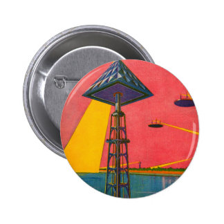Retro Vintage Kitsch Sci Fi Canals of Mars Pinback Button