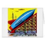 Retro Vintage Kitsch Sci Fi Cartoon Rocket Ship Card