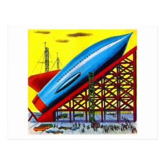 Retro Vintage Kitsch Sci Fi Cartoon Rocket Ship Postcard
