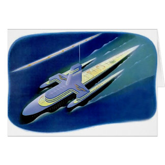 Retro Vintage Kitsch Sci Fi Future Ocean Liner Greeting Card