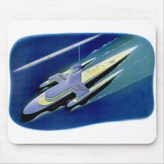 Retro Vintage Kitsch Sci Fi Future Ocean Liner Mouse Pad