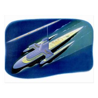 Retro Vintage Kitsch Sci Fi Future Ocean Liner Postcard