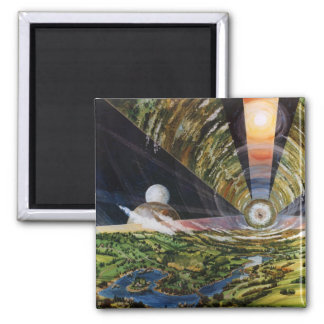 Retro Vintage Kitsch Sci Fi Future Space Colonies 2 Inch Square Magnet