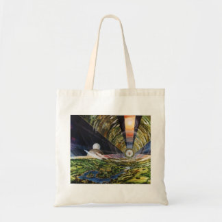 Retro Vintage Kitsch Sci Fi Future Space Colonies Budget Tote Bag