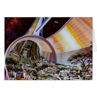 Retro Vintage Kitsch Sci Fi Future Space Colonies Card