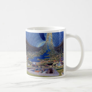 Retro Vintage Kitsch Sci Fi Future Space Colonies Coffee Mug