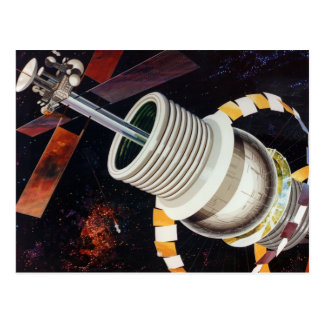 Retro Vintage Kitsch Sci Fi Future Space Colonies Postcard
