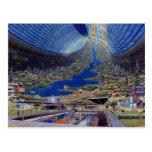 Retro Vintage Kitsch Sci Fi Future Space Colonies Postcards