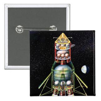 Retro Vintage Kitsch Sci Fi Lunar Module Button