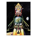 Retro Vintage Kitsch Sci Fi Lunar Module Greeting Cards
