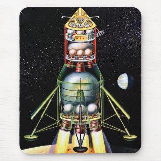 Retro Vintage Kitsch Sci Fi Lunar Module Mouse Pad