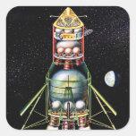 Retro Vintage Kitsch Sci Fi Lunar Module Stickers