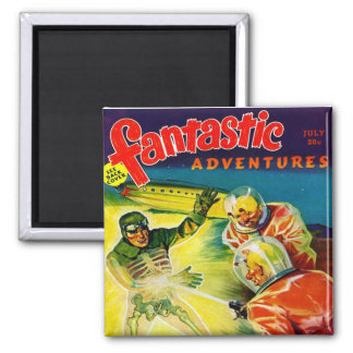 Retro Vintage Kitsch Sci Fi Pulp Fantastic Mag 2 Inch Square Magnet
