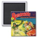 Retro Vintage Kitsch Sci Fi Pulp Fantastic Mag 2 Inch Square Magnet