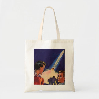 Retro Vintage Kitsch Sci Fi Rocket Blast Off Boys Budget Tote Bag