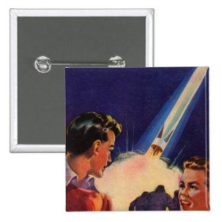 Retro Vintage Kitsch Sci Fi Rocket Blast Off Boys Pinback Buttons