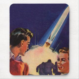 Retro Vintage Kitsch Sci Fi Rocket Blast Off Boys Mouse Pad
