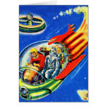 Retro Vintage Kitsch Sci Fi Space Travel Spaceship Card
