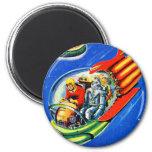 Retro Vintage Kitsch Sci Fi Space Travel Spaceship Fridge Magnet