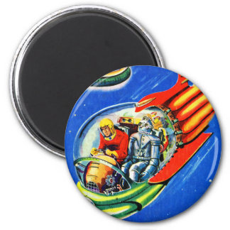 Retro Vintage Kitsch Sci Fi Space Travel Spaceship Magnet