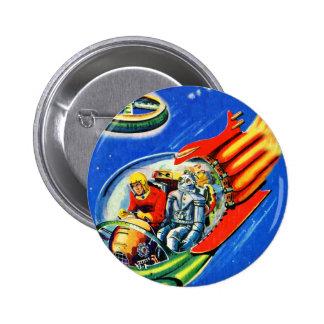 Retro Vintage Kitsch Sci Fi Space Travel Spaceship Pinback Button