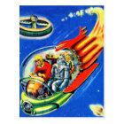 Retro Vintage Kitsch Sci Fi Space Travel Spaceship Postcard