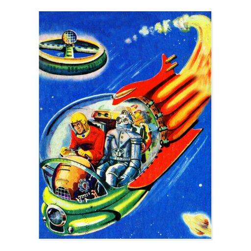 Retro Vintage Kitsch Sci Fi Space Travel Spaceship Post Card
