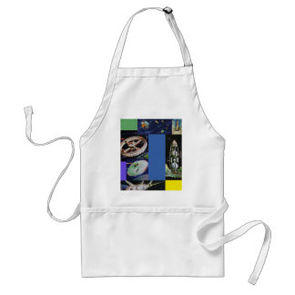 Retro Vintage Kitsch Sci Fi Space Vehicles UFOs Adult Apron