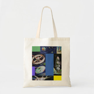 Retro Vintage Kitsch Sci Fi Space Vehicles UFOs Canvas Bags