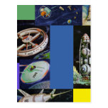 Retro Vintage Kitsch Sci Fi Space Vehicles UFOs Post Card